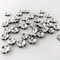 50 Rhinestone rondelle 6mm spacer beads Jet